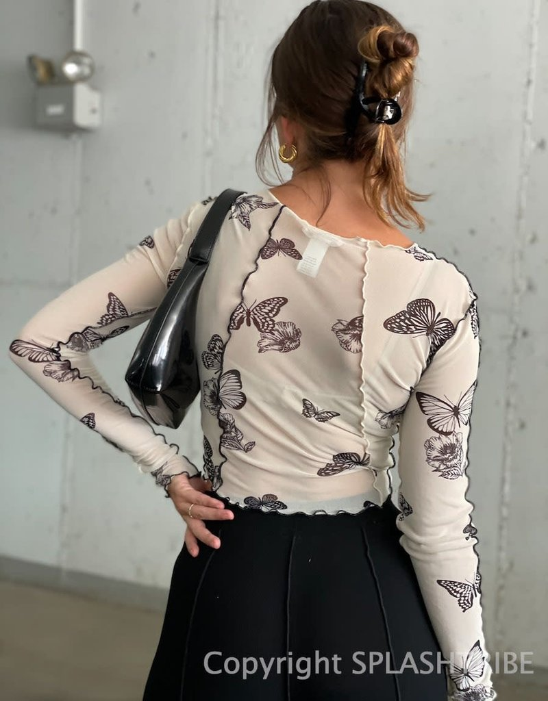 Butterfly Mesh Long Sleeve Crop Top