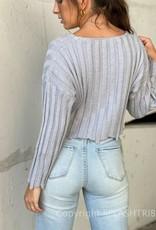 Frayed Wide Rib Crop Sweater - P-149404