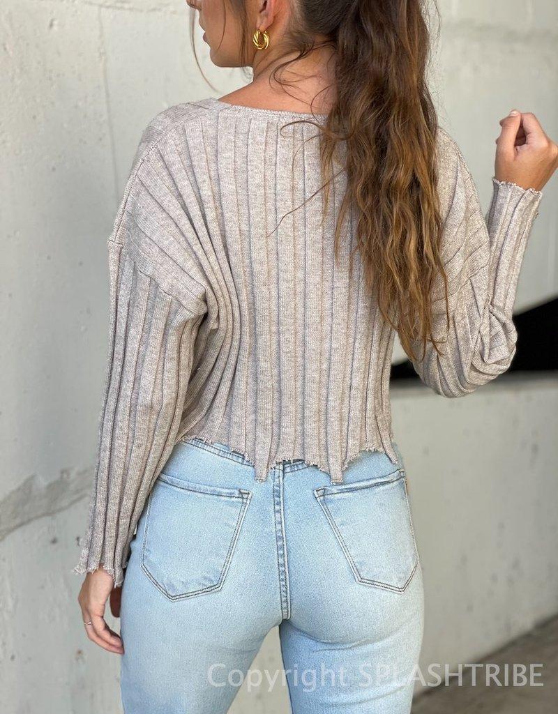 Frayed Wide Rib Crop Sweater - P-146097