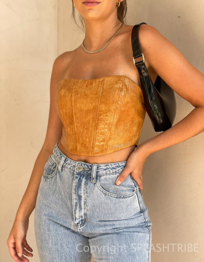Faux Leather Corset Crop Top
