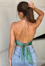 Chain Halter Tie Back Crop Top