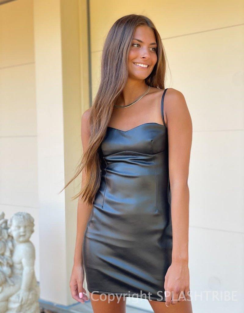 Faux Leather Sweetheart Mini Dress