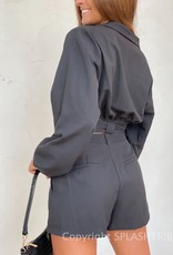Waist Tie Long Sleeve Top and Short Set