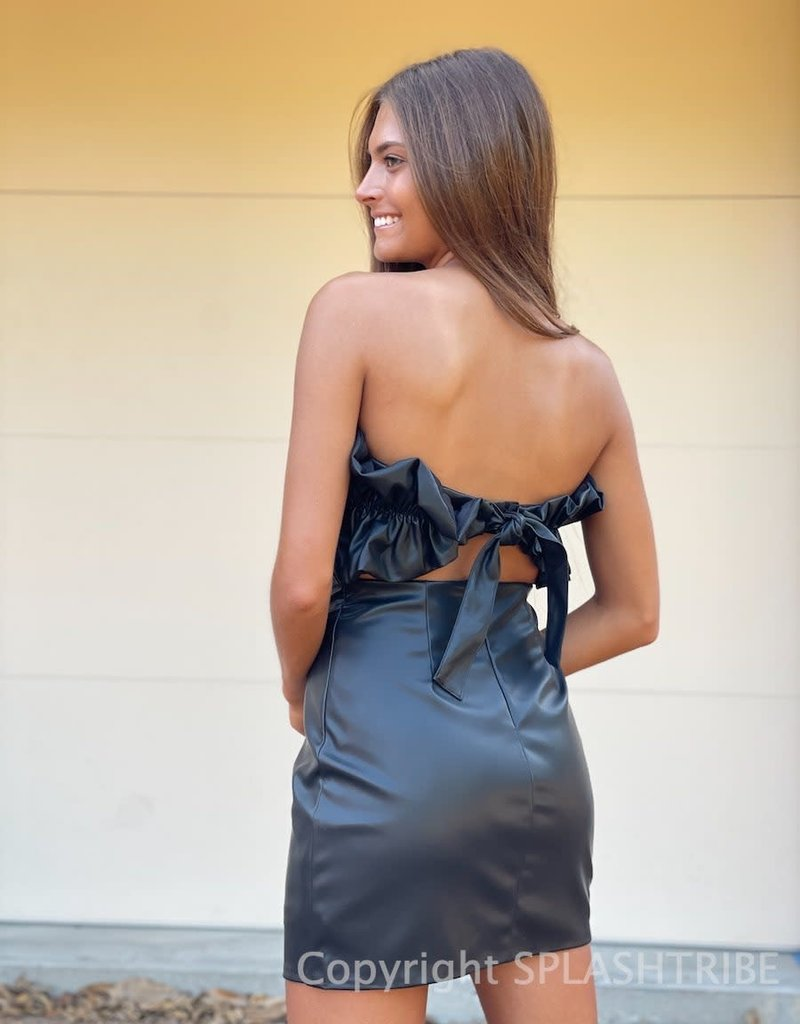 Faux Leather Ruched Tube Mini Dress