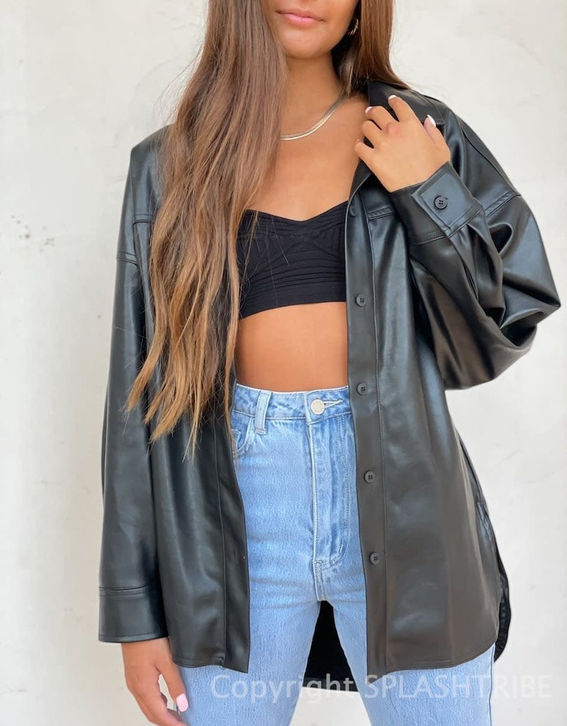 Vegan Leather Button Down Shacket