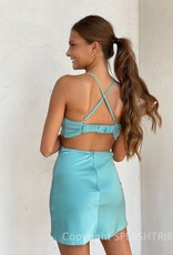 Gigi Satin Cowl Cutout Mini Dress