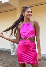 Satin O Ring Halter Mini Dress