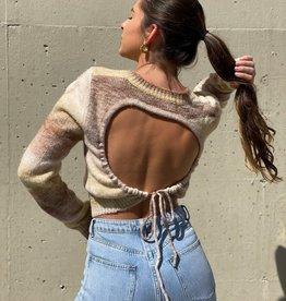 Ombre Open Tie Back Sweater