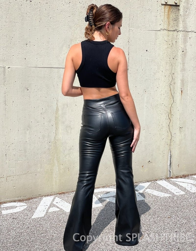 Faux Leather High Rise Flare Pants