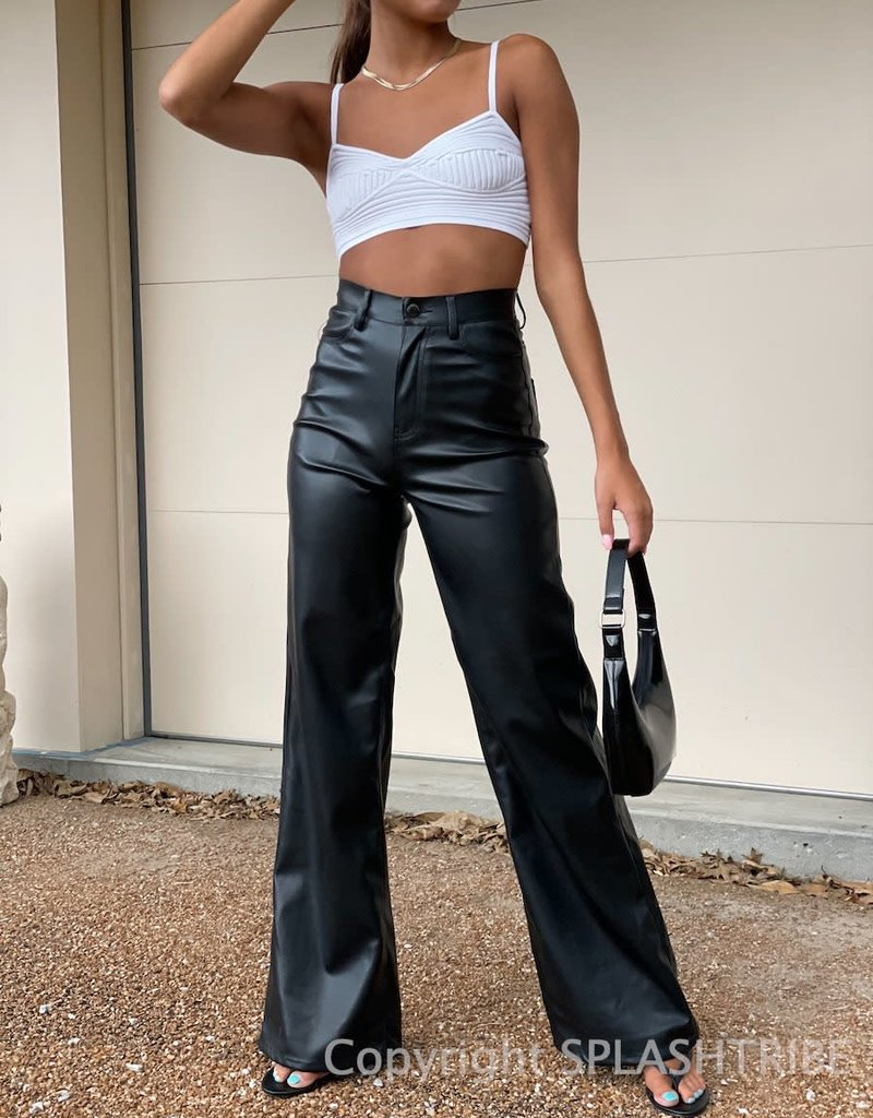 Faux Leather High Rise Wide Leg Pant
