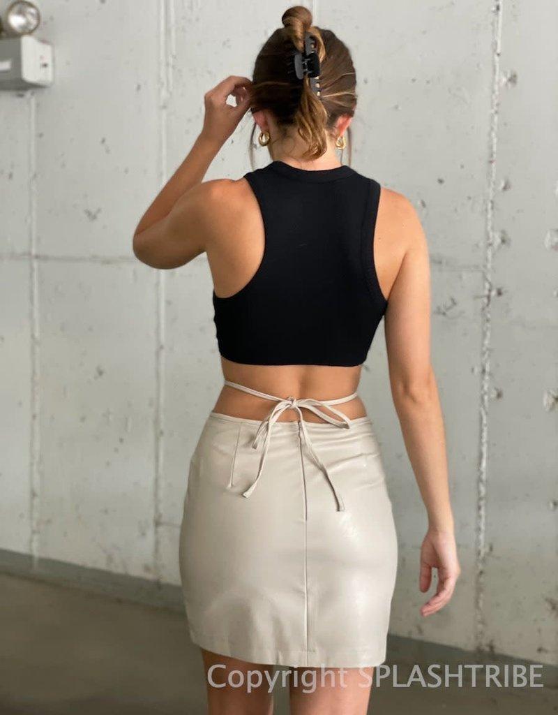 Faux Leather Waist Tie Mini Skirt