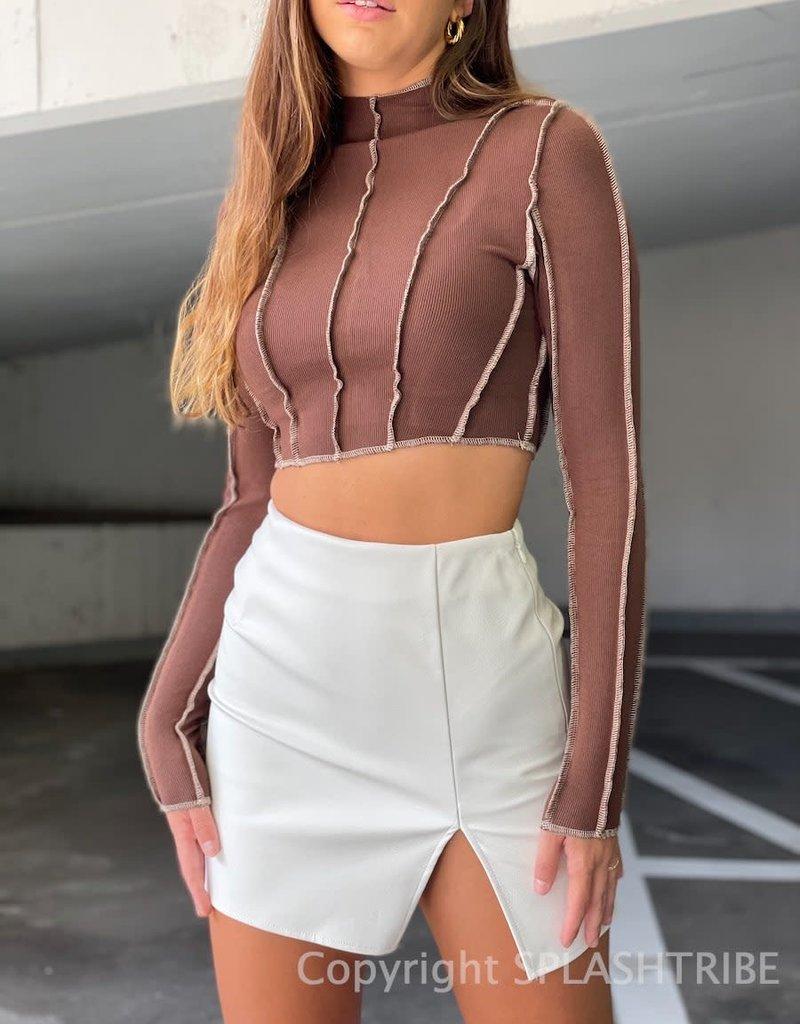 High Rise Faux Leather Slit Mini Skirt