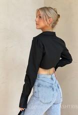 Irregular Cropped Long Sleeve Top