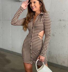 Houndstooth Cutout Long Sleeve Mini Dress