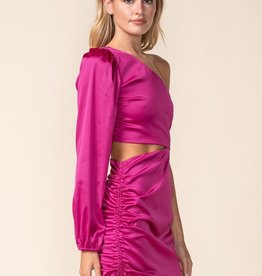 Satin One Shoulder Cinched Mini Dress