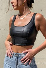 Seamed Faux Leather Crop Top