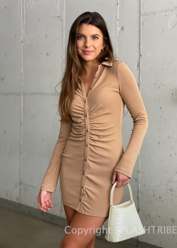 Ribbed Long Sleeve Button Front Mini Dress