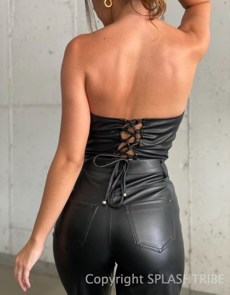 Faux Leather Lace Up Back Tube Top