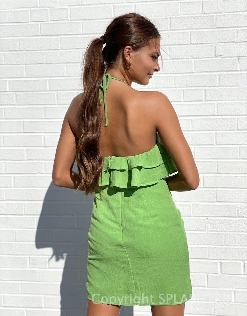 Halter Tiered Ruffle Mini Dress