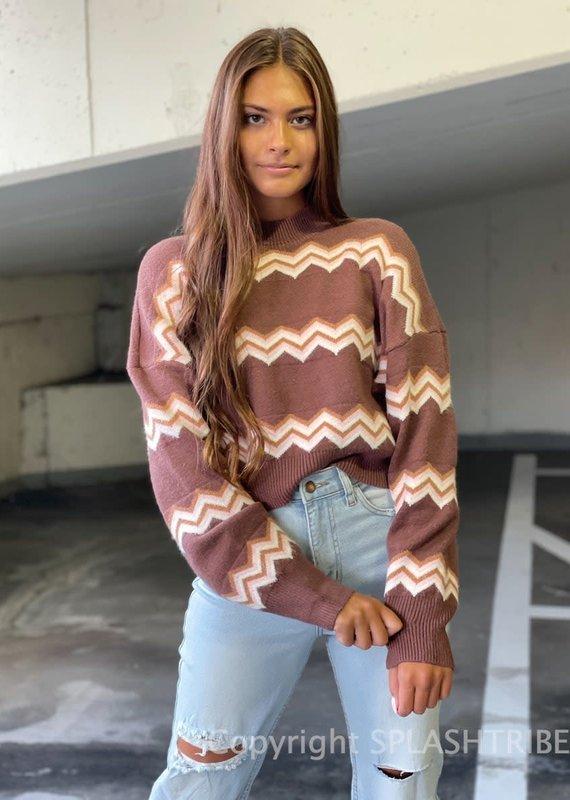 Zig Zag Mock Neck Sweater