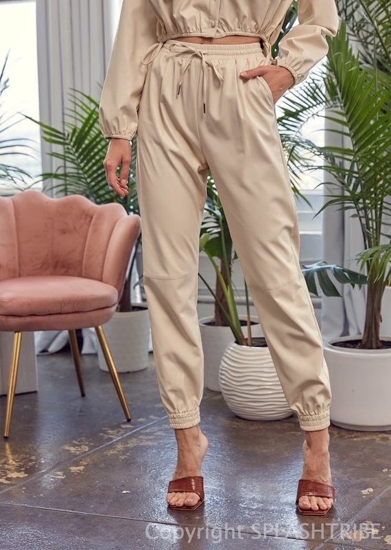 Faux Leather High Waist Joggers