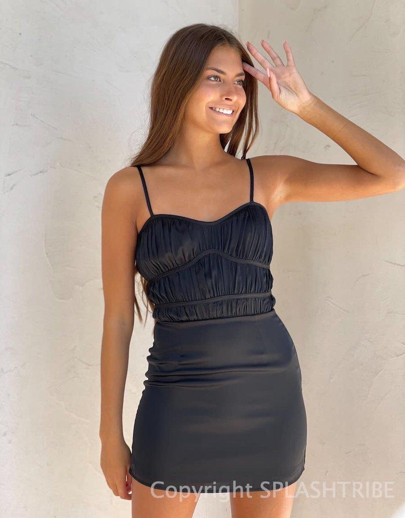 Allie Satin Ruched Mini Dress