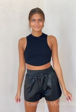 Faux Leather Scrunch Waist Shorts