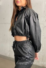 Drawstring Faux Leather Cropped Jacket