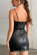 Faux Leather Ruched Bust Mini Dress