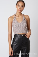 Space Dye Ribbed Sweater Halter Tank Top