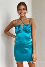 Rosalyn Satin Halter Mini Dress