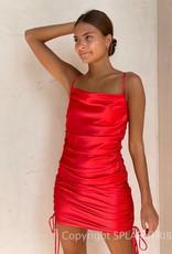 Kelsey Satin Cinched Side Mini Dress