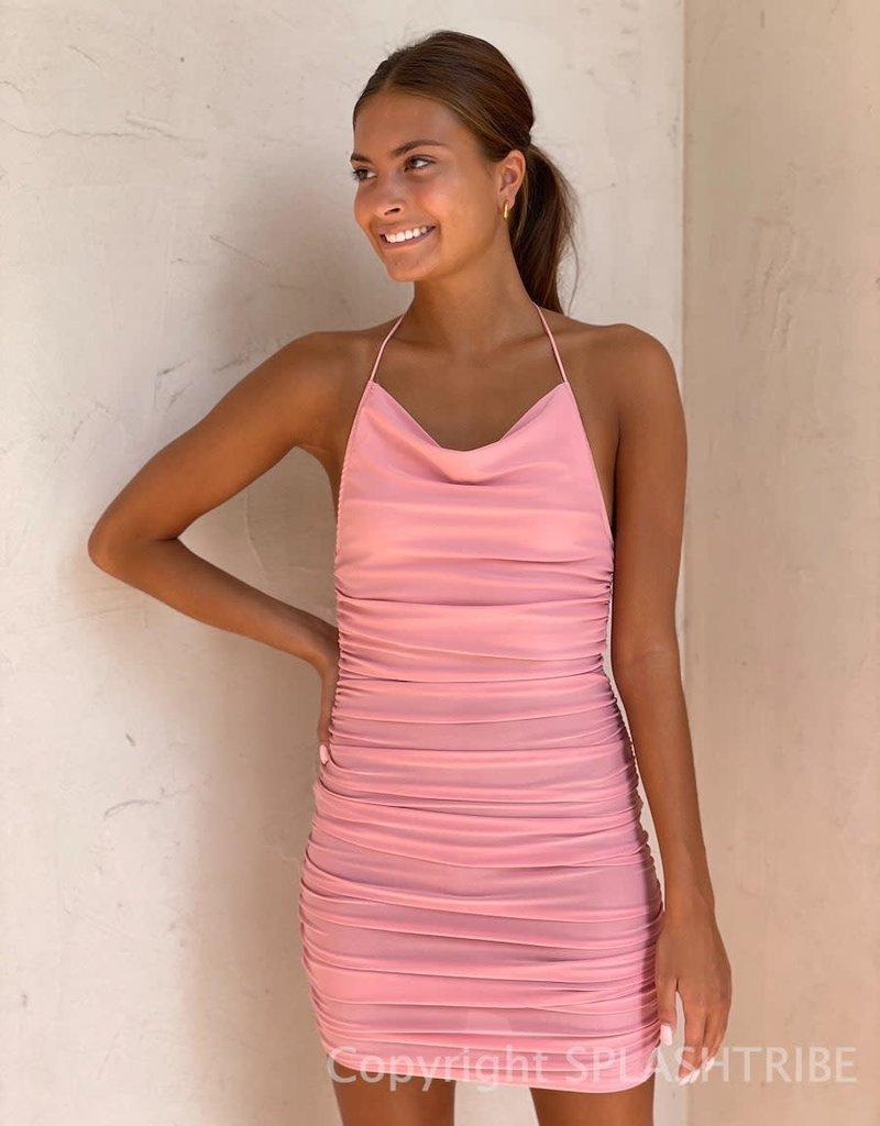 Marti Cowl Neck Ruched Mini Dress