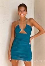 Hazel Keyhole Halter Mini Dress