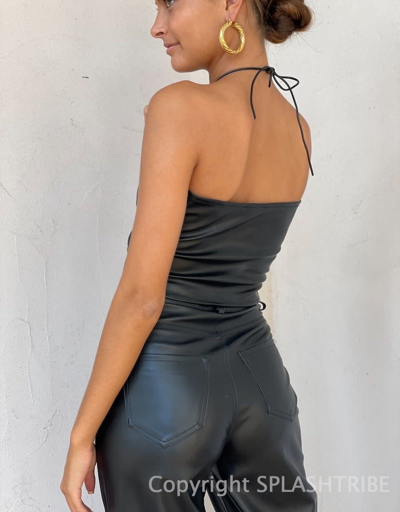 Keyhole Faux Leather Crop Top