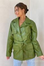 Vegan Leather Belted Jacket