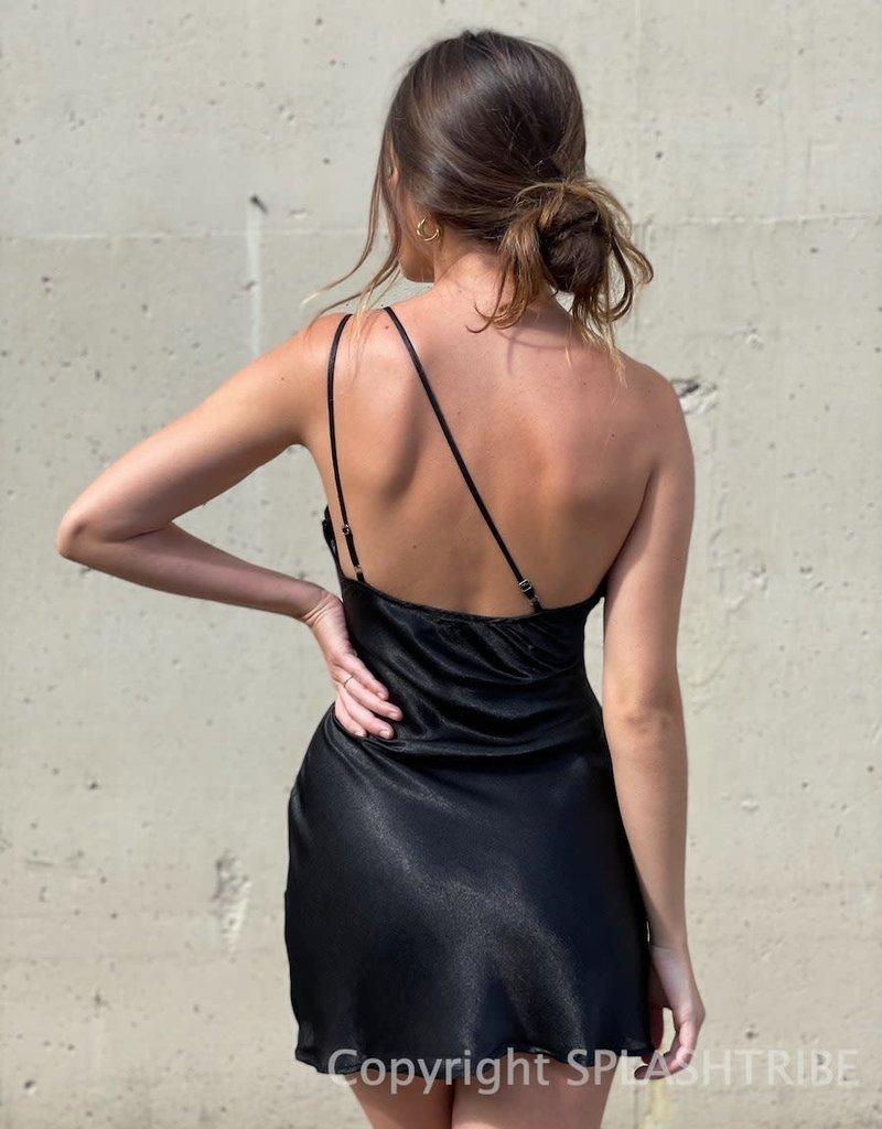 One Shoulder Double Strap Mini Dress