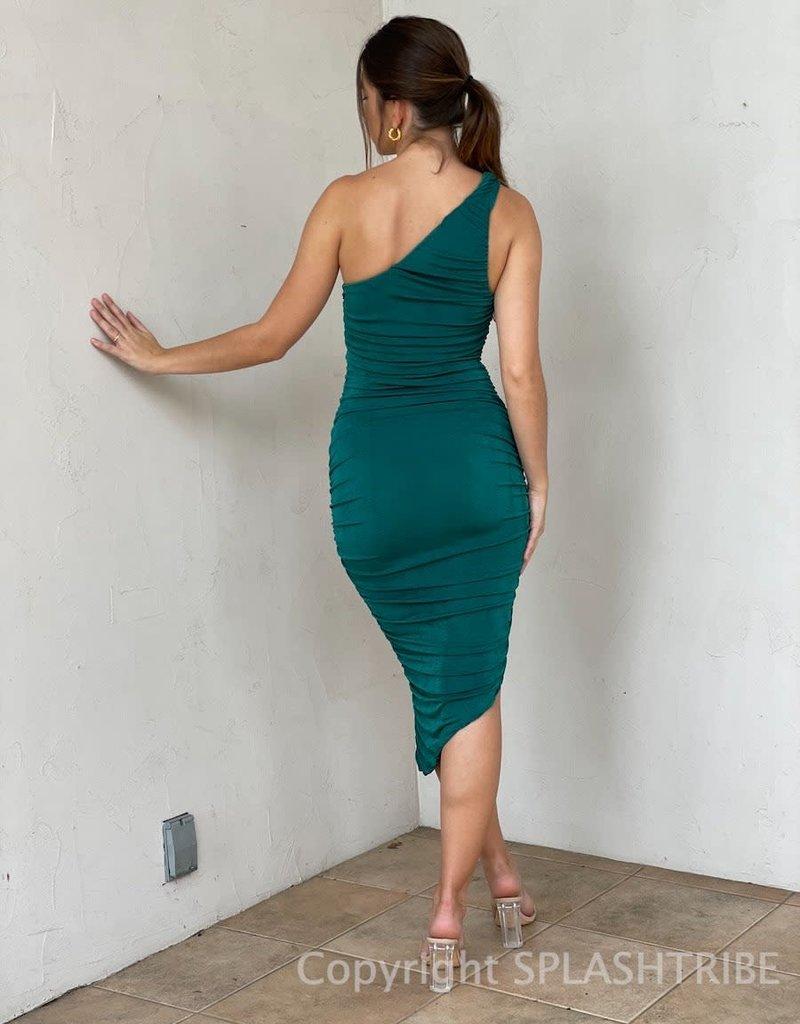 Slinky One Shoulder Midi Dress