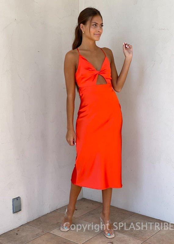 Satin Twist Front Cutout Midi Dress