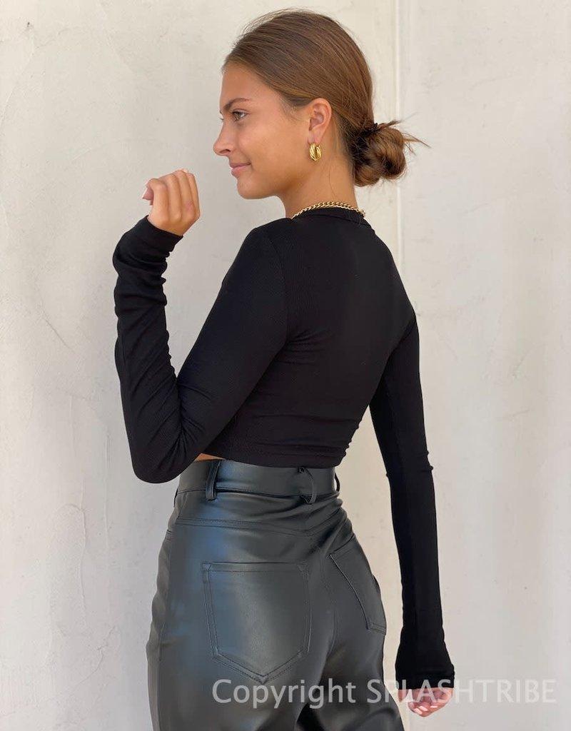 Baby Rib Long Sleeve Basic Crop Top