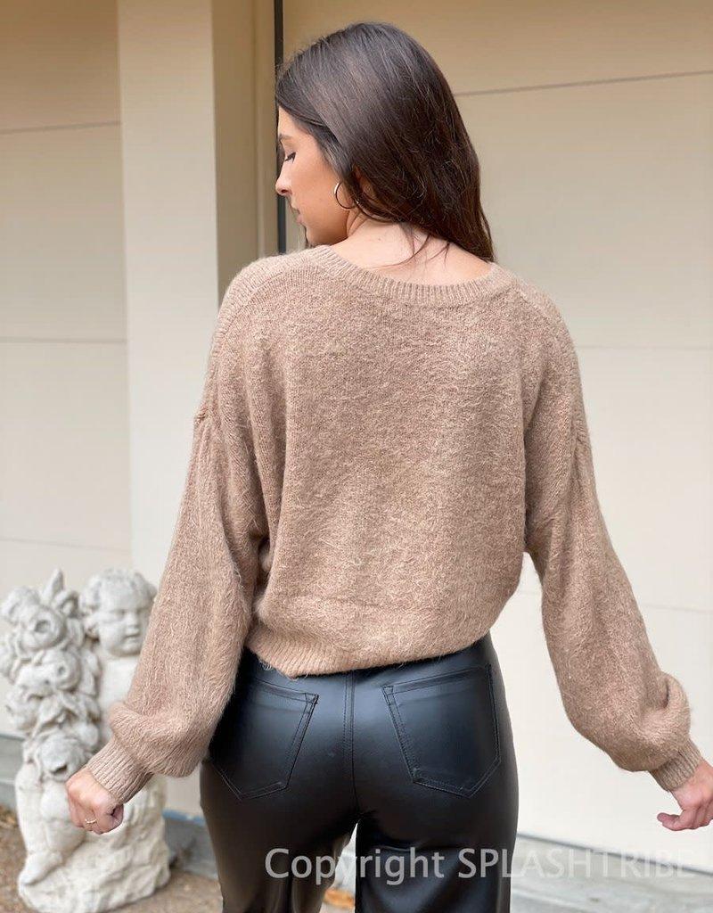 Fuzzy V Neck Crop Sweater