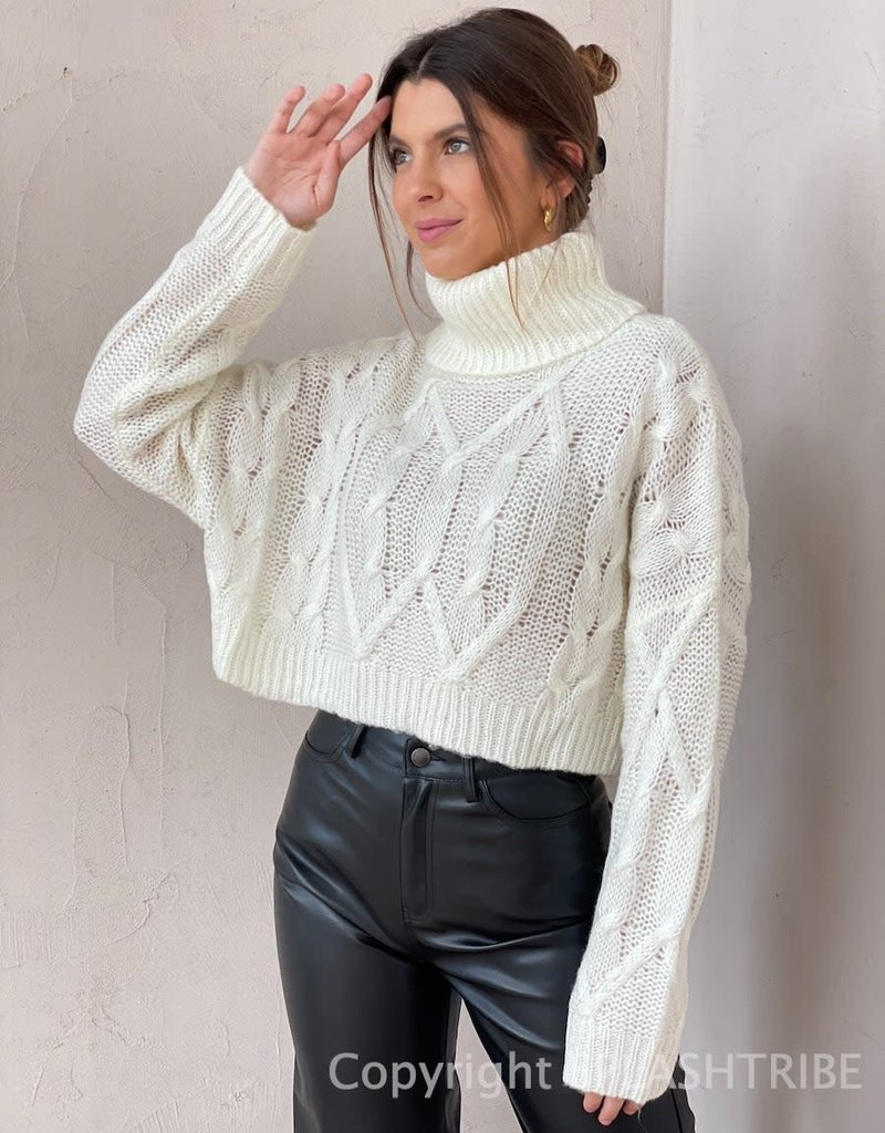 Cable Knit Cropped Turtleneck Sweater