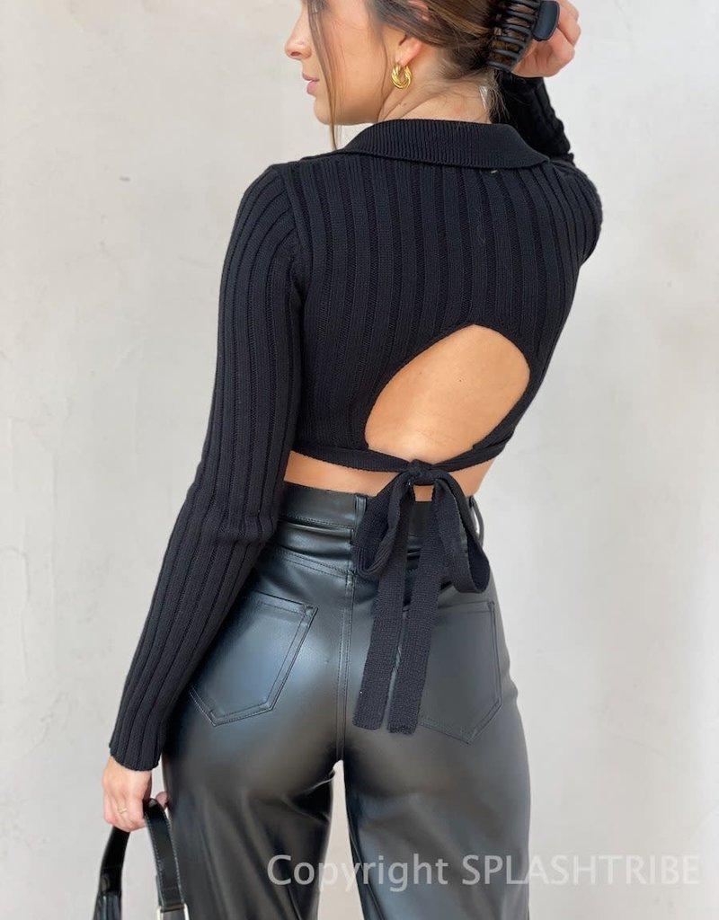 Collard Knit Open Tie Back Crop Top