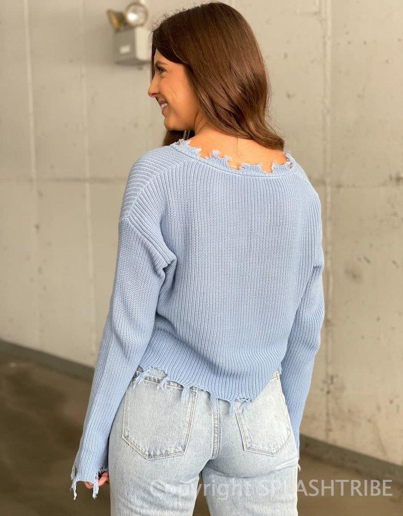 Distressed V Neck Sweater