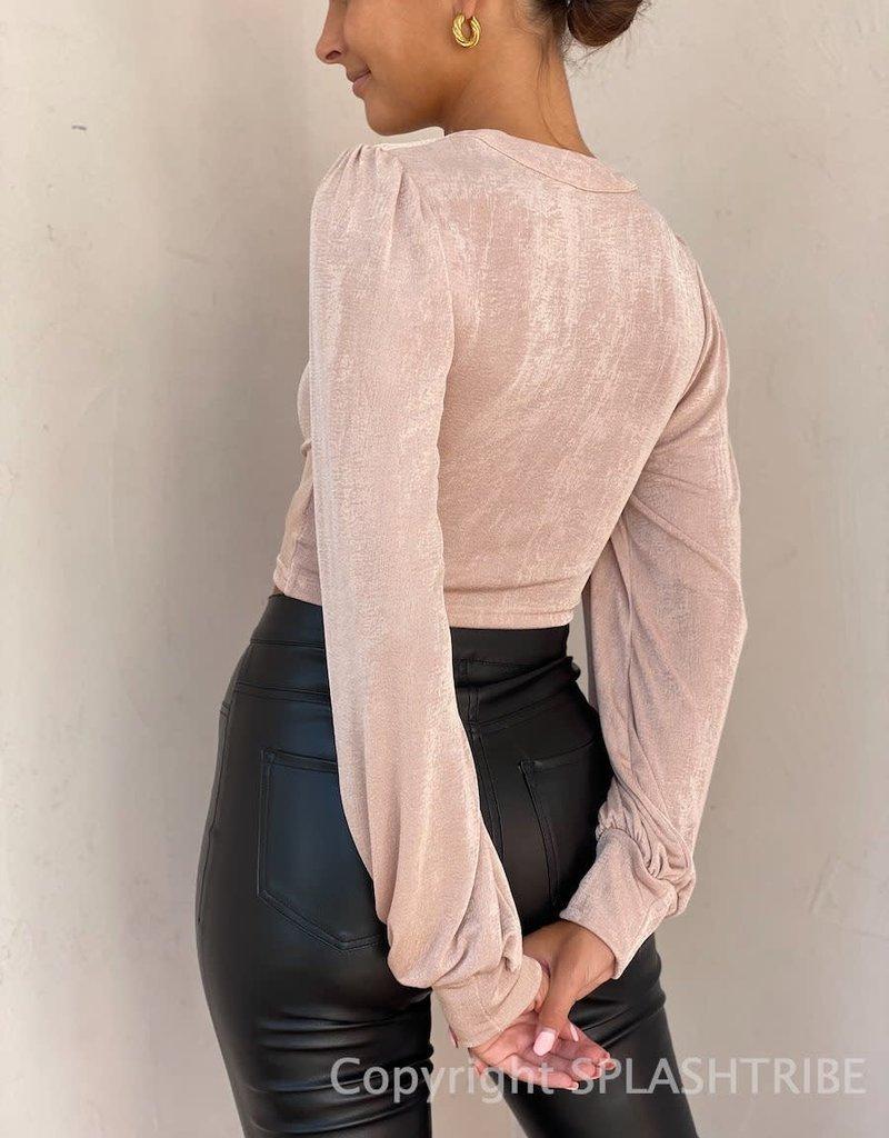 Shimmer Balloon Long Sleeve Crop Top