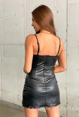 Double Slit Faux Leather Bustier Mini Dress