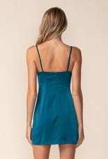 Double Slit Satin Bustier Mini Dress