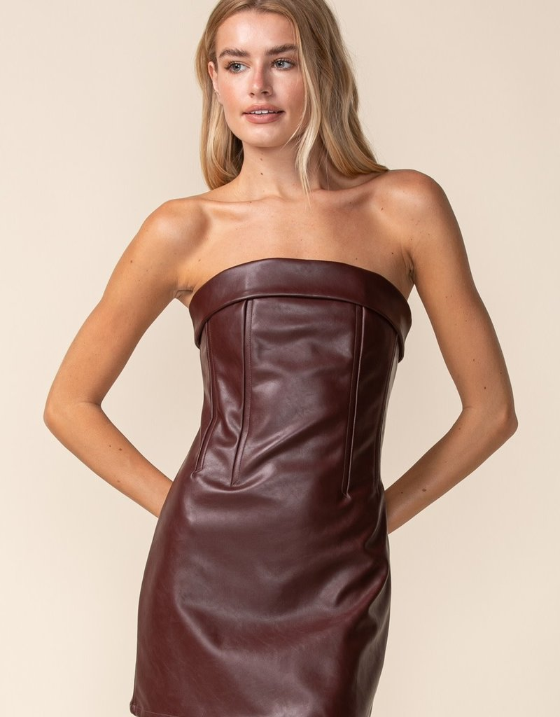 Mills Faux Leather Strapless Mini Dress