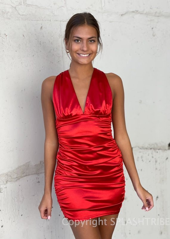Satin V Neck Ruched Mini Dress