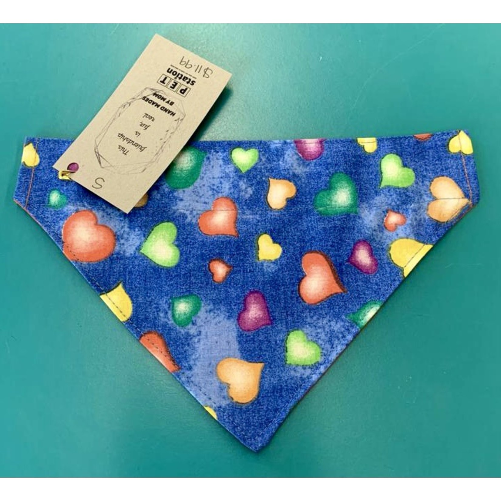 Hand Mades By Mom Hearts Blue Bandana Collar Fit